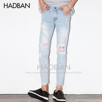 Wholesale Korean Men Pants For Sale - Wholesale-2016 Spring and Summer New Men's Jeans Pants Korean Style Light Blue Skinny Hole Jeans Men Casual Ripped Jeans For Men Hot Sale