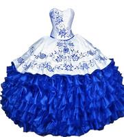 vestidos de debutante azul blanco al por mayor-2017 Nueva Sexy Blanco Azul Bordado Vestido de Bola Vestidos de Quinceañera con Encaje Organza Más Tamaño Dulce 16 Vestido Vestido Debutante Vestidos BQ45