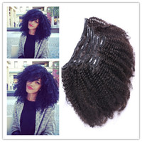 Wholesale New Arrival Afro Kinky Curly Clip In Human Hair Extensions Unprocessed Mongolian Human Hair Curly Clip In Human Hair Extension g Set