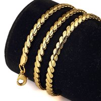 Wholesale Necklace Snake Chain 4mm Gold - 4MM Twist-Shape Gold Chokers Chain For Men 18K Hip-Hop Punk Style Necklace Top Quality Jewelry For Men Gift