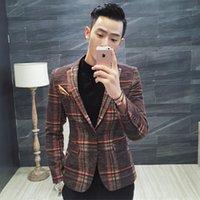 Wholesale Vintage Straight Jacket - Men Blazer Designs New Arrival Men Plaid Blazer Vintage Party Masculino Slim Fit Wool Blend Blazer Styles Men Jacket