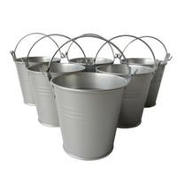 Wholesale Silver Tin Pails - D7.5*H7.5CM Party Favor Metal mini Pail Tin bucket Rustic Succlents Pots Decorative Galvanized Meat plant pot Iron pots