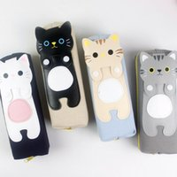 Wholesale cute girl pencil case resale online - 4 Colors TOTORO CM School Pen Case canvas Pencil BAG Casees Pouch Cosmetics Purse BAG Wallet Coin Holder Pouch Cute Carton Bag A7116