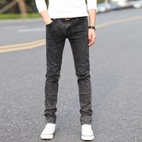 Wholesale Teenagers Jeans - Wholesale-2016 grey snow stretch feet jeans male teenagers Cultivate one's morality pants