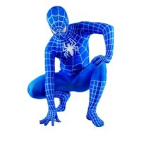Wholesale Spiderman Zentai Blue Black - Blue Black Red Lycra Spandex Spiderman Costume Halloween Spider-man Full Body Catsuit
