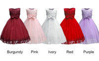 Wholesale Cheap Baptism Gowns - 2018 Vintage Lovely Burgundy Baby Infant Toddler Baptism Clothes Flower Girl Dresses Knee Length With Lace Bow Flowers Tutu Ball Gowns Cheap