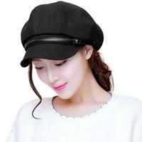 Wholesale Ladies Newsboy Hats Grey - Wholesale- Siggi Fashion Warm Women Beret Caps For Ladies Newsboy Vintage Peak Cap Adjustable Dome Chapeu Feminino
