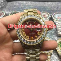 Wholesale Huge Black Diamond - Huge diamonds bezel big size 43mm wrist watch luxury brand hip hop rappers full iced out gold case red face dial automatic watches