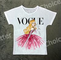 Wholesale Girl S Vogue Dress - Track Ship+Vintage Retro Good Feeling T-shirt Top Tee Vogue Pink Dress Elegant Golden Hair Princess Girl 0933
