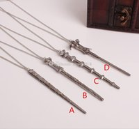 Wholesale Big Metal Necklaces - Hermione Harry James Keychain Alloy magic wand Pendant Voldemort Dumbledore necklace Free shipping E1477