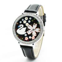 Wholesale Wholesale Personalized Diamond Silver Jewelry - Alloy Case + PU Strap Personalized Fashion Crystal Ball Cartoon Dial Diamond Jewelry Quartz Watch