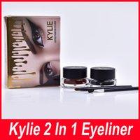 Wholesale Gold Gel Eyeliner - KYLIE Eyeliner gold kylie makeup Eyeliner 2 in 1 waterproof lasting pmantom eyeliner gel Black brown high quality