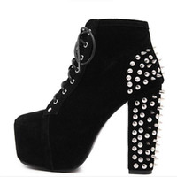 Wholesale Red Spiked Booties - Wholesale-Plus Size Ultra High Heels Shoes Woman Punk Boots Spikes Ankle Boots Rivet Bota Women lita Platform Booties Lace Up Lady Shoes
