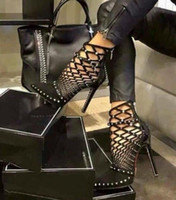 Wholesale Ankle Bootie Heels - 2017 Gladiator Roman Sandals Summer Rivet Studded Cut Out Caged Ankle Boots Stiletto High Heel Women Sexy Shoes Bootie SIZE:US4-9 SX45