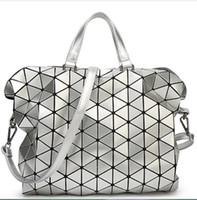 Wholesale Korean Sequin Handbag - Wholesale- 2016 Women Laser BAOBAO Bag Geometry Package Sequins Saser Plain Folding Handbags Briefcase Shoulder Bag Women Tote bag baobao