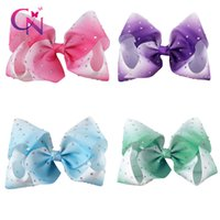 Wholesale Diamante Hair Bow - 8 Pcs lot 8 Inch Jumbo JoJo Hair Bow Diamond Hair Bow Diamante Hair Bow With Clip For Kid Girl
