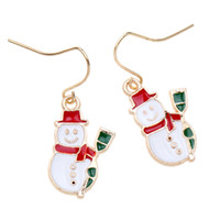 Wholesale Snowman Bells - 50pr lot New Fashion Women Santa Claus Snowman Bell Christmas Jewelry Christmas Earring For Women best Gifts HYEX1385A