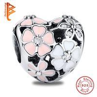 Wholesale Girls Enamel Jewelry - BELAWANG 925 Sterling Silver Beads Charms Spring Enamel Poetic Blooms Flower Charm Fit Pandora Charm Bracelet DIY Jewelry For Fashion Girl