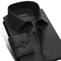 Wholesale Slim Fit Work Shirts Black - Wholesale- Famous Brand Cotton Long Sleeve Men Dress Shirt Slim Fit Male Solid Black Formal Business Casual Shirt Office Work Plus Size 4XL