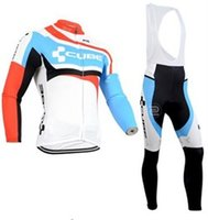 Wholesale Cube Cycling Set - Vacove Brand new mens pro team Cube cycling jersey bike Long set Ropa Ciclismo quick dry Blue cycling wear bicycle Maillot Culotte