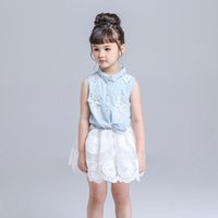 Wholesale Demin Jeans Short - Summer girl dress set Outfits Baby clothes Girls Sets Cute Demin Jeans Short Sleeve Tops Lace Tutu Skirts suits