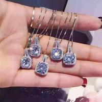 Wholesale Large Sterling Silver Jewelry Wholesale - 925 silver necklace pendant high quality superfine chain no fade platinum plating large diamond jewelry a diamond chain 30pcs lot