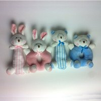 Wholesale Plush Products Stuffed Animal - Wholesale- 2pcs lot Cartoon Animal Plush Rattle Baby Products Educational Toys Plush Toy Stuffed Doll Sound Toys Best Gift For Children