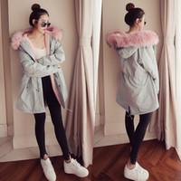 şirin uzun katlar toptan satış-Kadınlar Kış Sıcak Uzun Parkas Kapşonlu Kalın Gevşek Palto Sevimli Artı Boyutu Giyim Kadın Giyim Ceketler Downs için