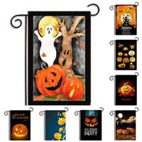 Wholesale pumpkin cats - Outdoor Garden Hanging Flags Pumpkin Black Cat Ghost Banner Witch Halloween Party Crafts Yard National Flag Hot Sale B R