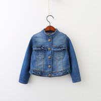 Wholesale Coat Baby Korea - Everweekend Girls Denim Jackets Baby Ruffles Fashion Outwears Vintage Western Korea Fall Winter Coats