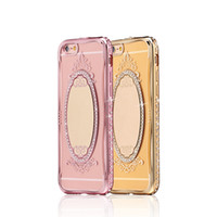 Wholesale Diamond Crystal Case Phone - Soft TPU Phone Case Diamond Crystal Frame mirror Transparent Clear Phone Back Cover For iPhone 7 6S 6 Plus