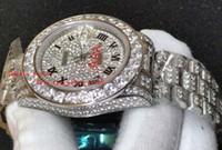 ingrosso grandi orologi a lunetta-orologio di lusso 41 mm quadrante bianco diamantato 40mm grande lunetta con diamanti incastonati / cinturino coclea Set orologio da uomo automatico di alta qualità