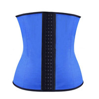 Wholesale Wholesale Latex Body Shapers - 4 Steel Boned Inner Latex Shape Waist Training Corsets Shapers Sport Waist Trainer Women Slimming Body Shaper Rubber Corset Fitness S-3XL