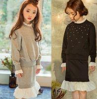 Wholesale Child Girl Suit Design - 2016 Autumn Children Girls Cotton Beading Mermaid Tail Design Suits Kids Long Sleeve Tops + Skirt Set Clothing Wear Suits Kids B4358