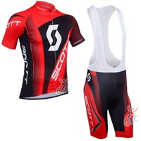 Wholesale Scott Cycling Bib Sets - 2017 Pro Team Scott Men Cycling Jersey Bicycle Short Sleeves Set Bike Clothing MTB Sportwear Shirts bib shorts F1302