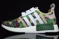 Wholesale Camo Cheap - 2017 Top quality NMD Runner Primeknit Camo Army Green Boost for Cheap Sale Fashion Running Shoes Camouflage Casual Boosts Size 36-45