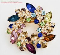 Wholesale Chain High Grade Steel - Bauhinia brooch chain scarves buckle and fashion accessories high-grade alloy diamond brooches 11 colors can choose