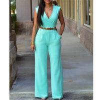 pantalones de pierna ancha xxl al por mayor-Al por mayor-Moda grandes mujeres sin mangas Maxi guardapolvos con cinturón de pierna ancha mono 8 colores S-XXL pantalones largos