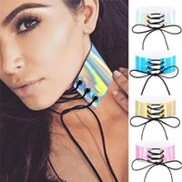 Wholesale wide choker necklaces - Lace Up Wide Chokers Rainbow Maxi Choker Necklace Gothic Harness Anime Laser Corset PU Leather collar Chocker Necklaces drop ship 162214