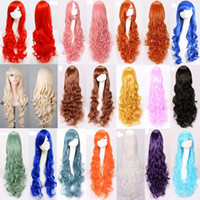Wholesale long wave costumes hair - 17 colors women Anime Cosplay long Wigs Multicolor Synthetic Hair Wig Cosplay Costume ladies dress Deep Wave Wigs For Party club night