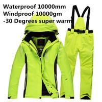 Wholesale Ski Snowboard Jackets Women - Wholesale- Free Shipping Men Winter Waterproof Pant And Jacket Ski Suit Snowboard Suit Sport women Snow Pants and Jacket -30 Degree