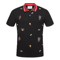 Wholesale Mens Designer Polo Shirts - New Hot Italy designer polo shirt t shirts Luxury Brand snake bee floral embroidery mens polos High street fashion horse polo T-shirt