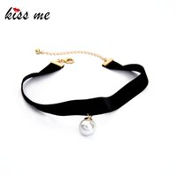KISS ME Nouveaux collants noirs populaires Round Simulated Pearls Choker Necklace 2017 Fashion Jewelry Women Bijoux