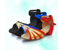 Wholesale Cheap Glitter Heels - 24-40 Roman Sandals dancing Latin for sale girls Glitter single Salsa Tango children dance party black red gold sliver cheap women shoes