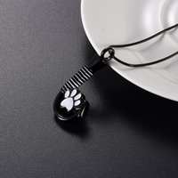 Wholesale crystal dog paw charms resale online - LkJ9926 Paw Hook Shape Pet Cremation Necklace Hold Loved Dog Cat Ashes Keepsake Stainless Steel Jewelry with Free Funnel