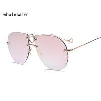 Wholesale Nose Rings Men - 2017 new frameless glasses ring nose support female sunglasses fashion trend men sunglasses UV400 OK122 17064