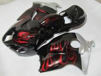 Wholesale hayabusa bodies - Aftermarket body part fairing kit for Suzuki GSXR1300 96 97 98 99 00 01-07 red flames black fairings set GSXR1300 1996-2007 OT12