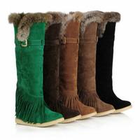 ingrosso sopra il reggiseno della nappa del ginocchio-Moda scarpe invernali da donna sopra il ginocchio stivali nappe in pelle scamosciata piatta stivali lunghi in pelliccia di coniglio, dimensioni: 34-39