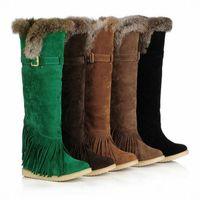 botas baixas botas venda por atacado-Sapatos de inverno das mulheres da moda sobre o joelho botas borlas camurça plana longo botas de pele de coelho, Tamanho: 34-39