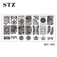 Wholesale Laced Nail Stamp Designs - Wholesale- 1PCS BC-03 Nail Art DIY Beauty Black Lace Flower Designs Tools Stamp Stamping Plates Manicure Templates Nail Stencils Polish